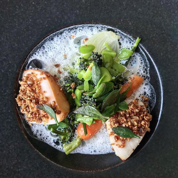 Scallops with broad beans, almonds and chicken skin from Ox Cave. Photo by @patrickdunseath on Instagram.