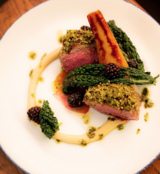 Herb-crusted lamb with carrot and blackberry from @theyardwexford on Instagram.