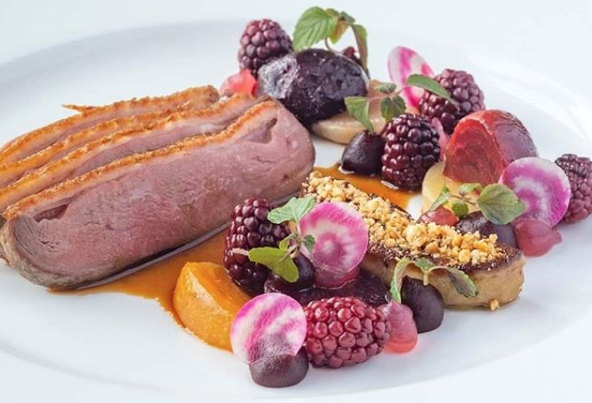 Carriglcleena duck breast, beetroot, blackberry and duck liver from @sheenfalls on Instagram.