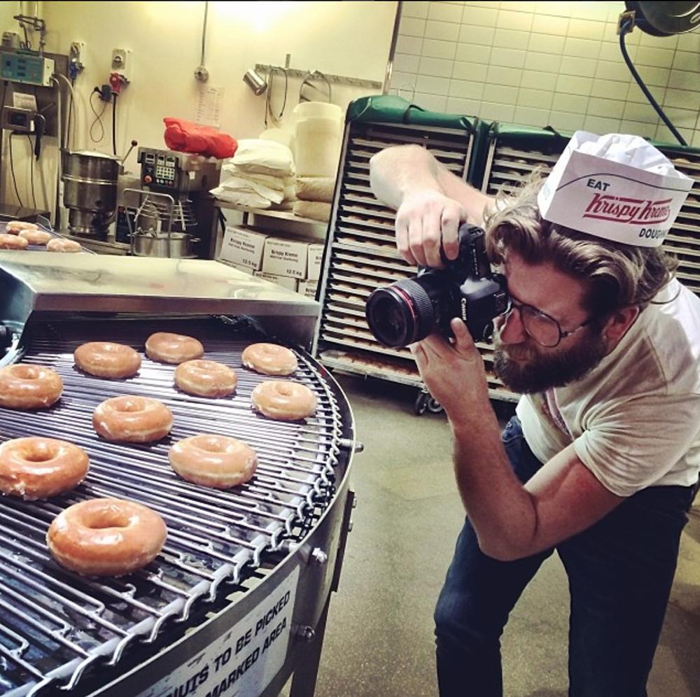 Steve shooting for Krispy Kreme.