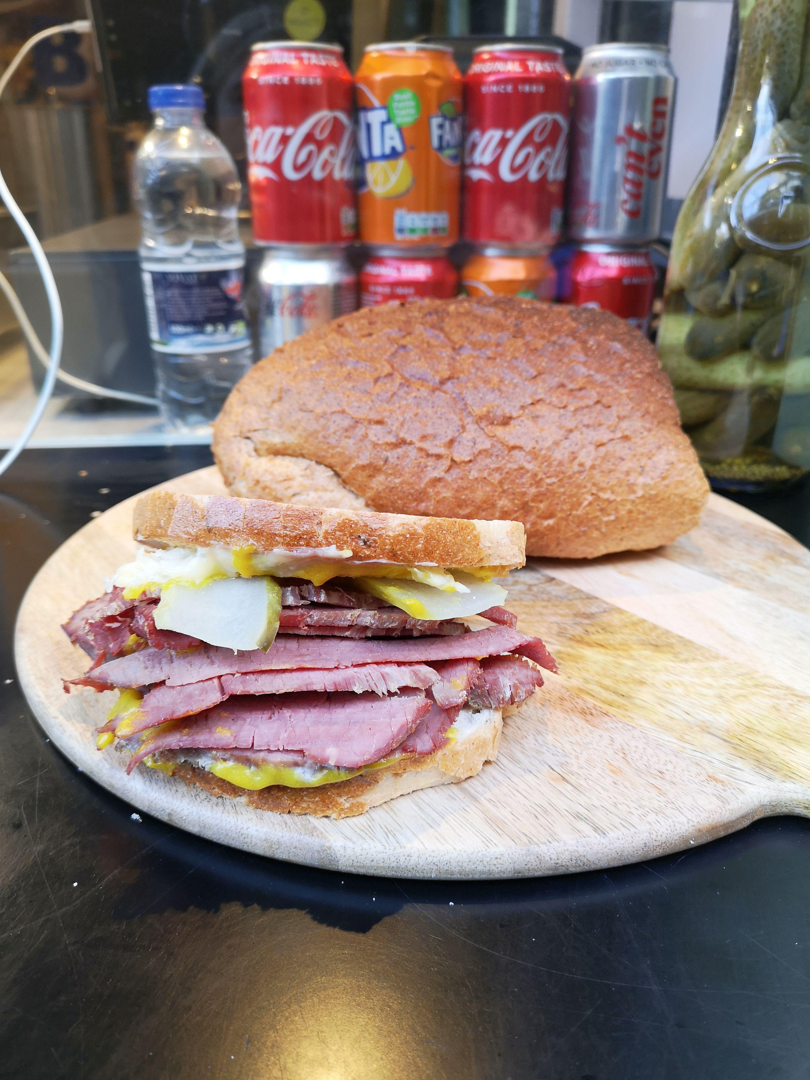 A classic Reuben sandwich.