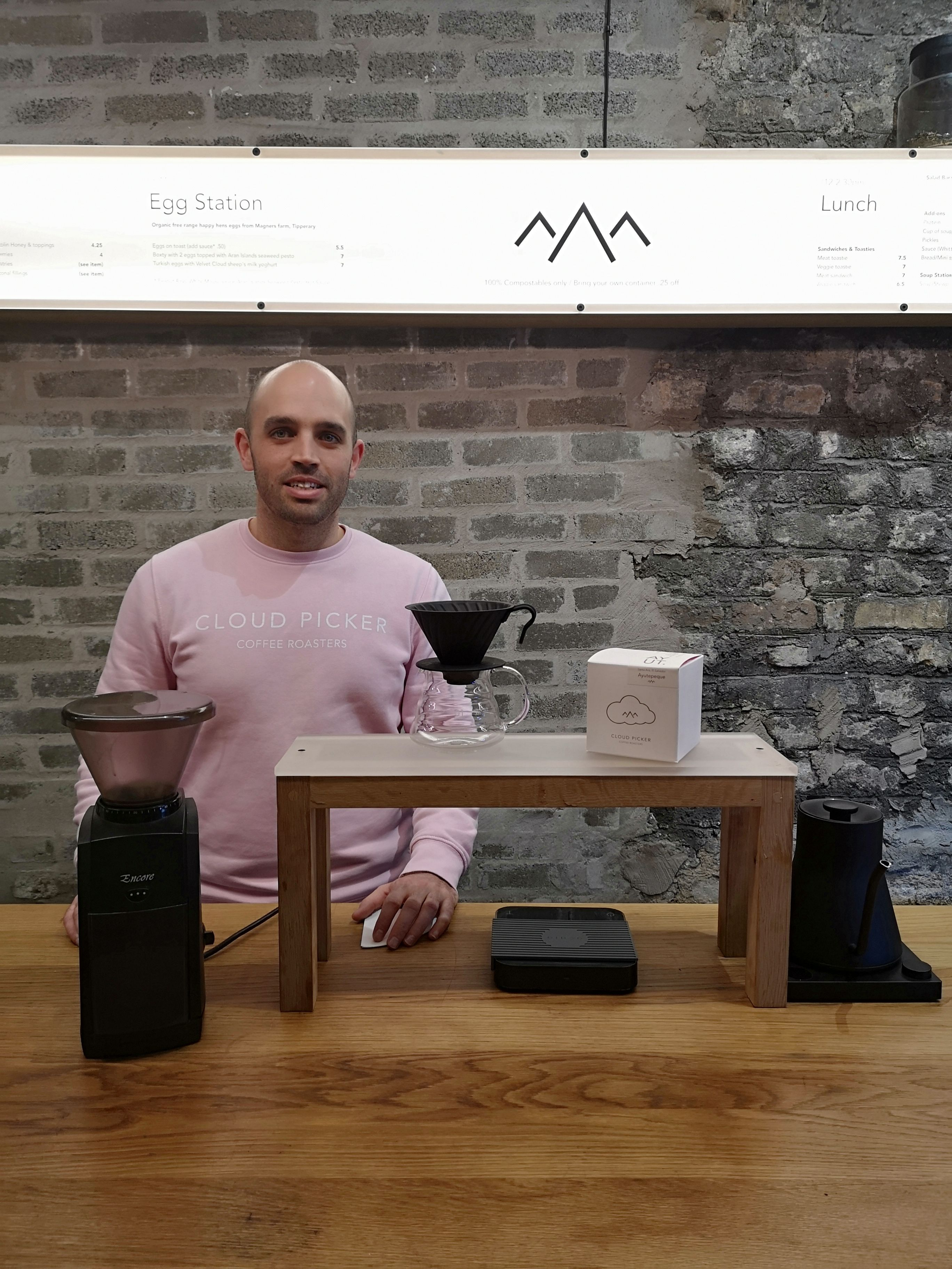 Barista Dustin Khan with the V60 coffee set up.