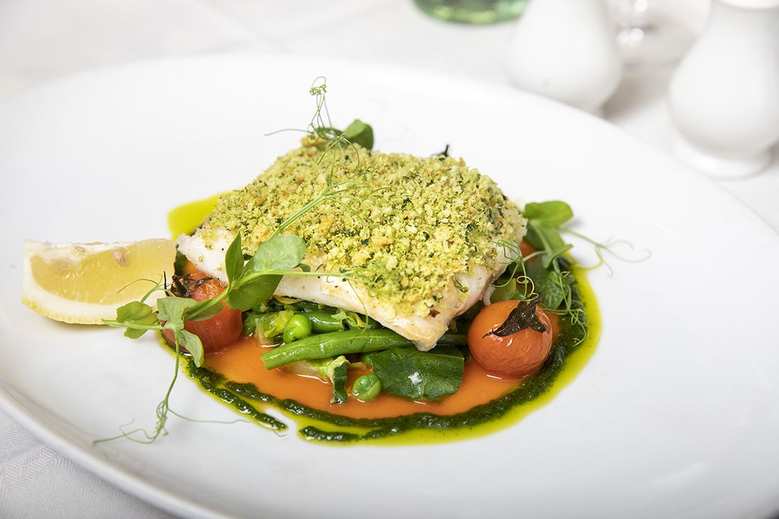 Lemon and herb crusted fillet of hake from Hatters' Lane Bistro.