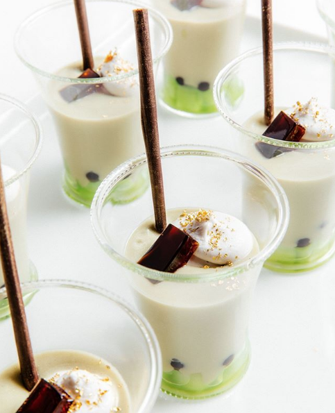 Vegan parfait of boba and compressed honeydew. Photo by @wpcatering on Instagram.