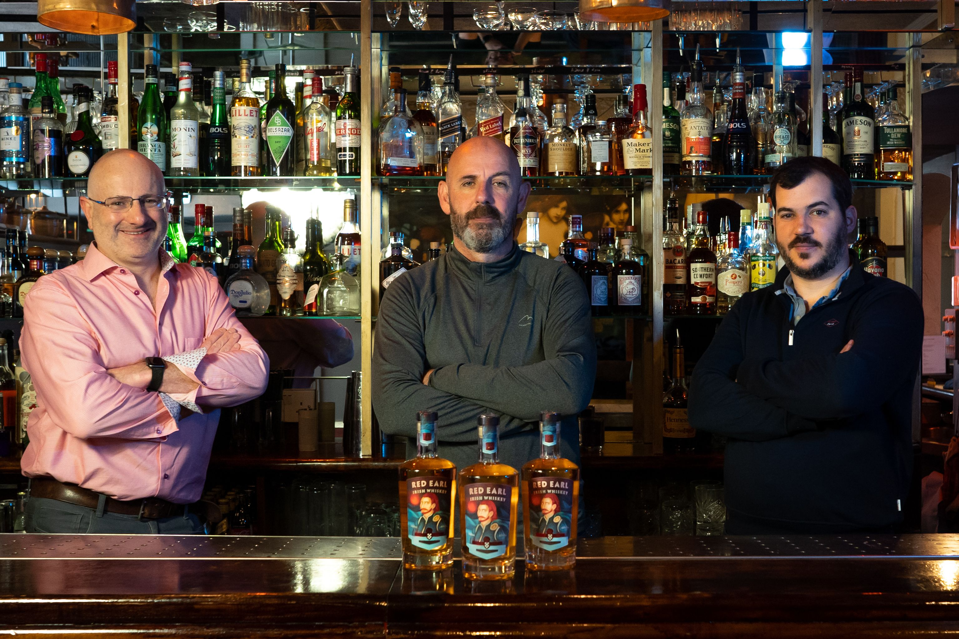 Kinsale Spirit Company co-founders Colin Ross, Tom O'Riordan, and Ernest Cantillon