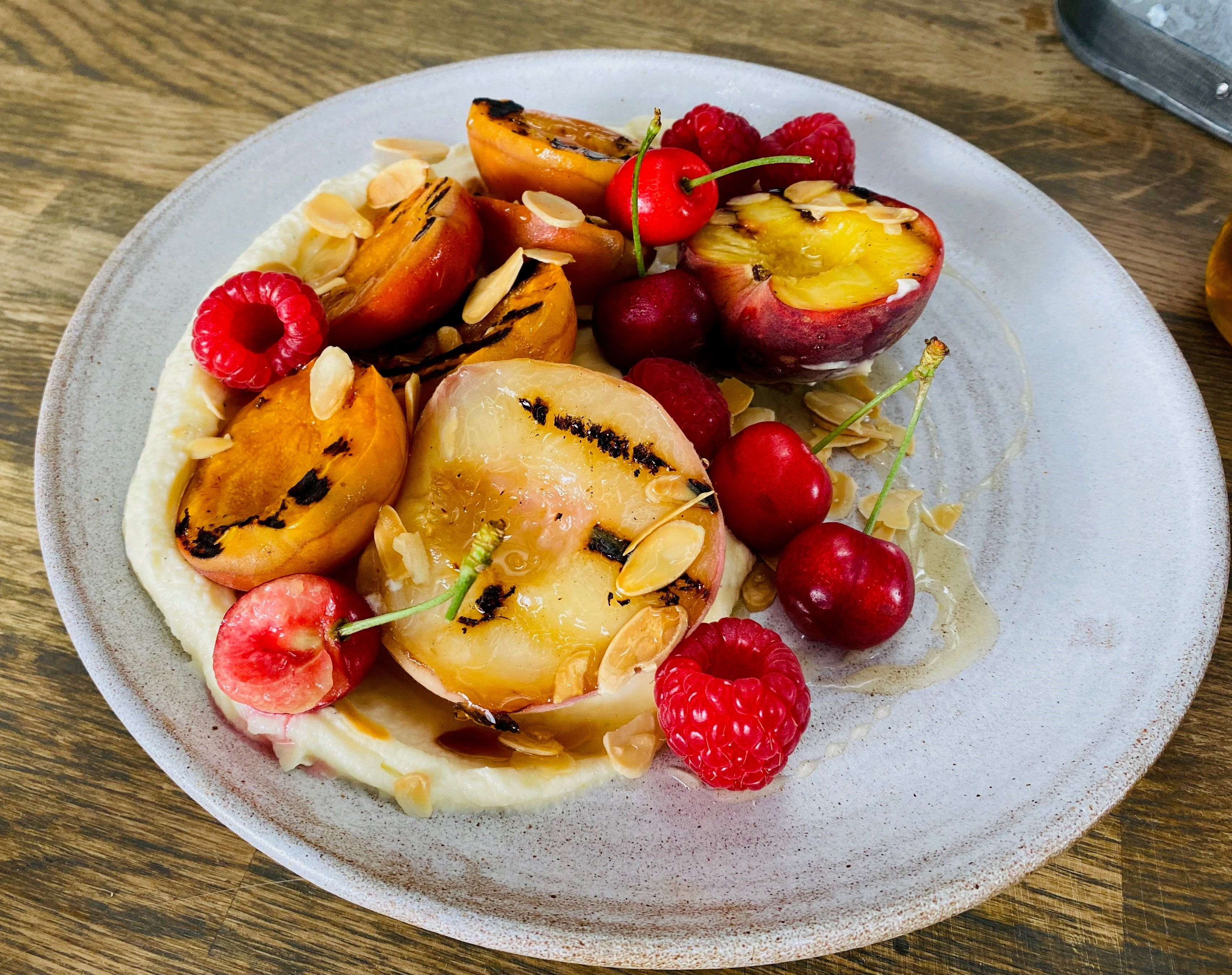 Donal's griddled stone fruits with mascarpone.