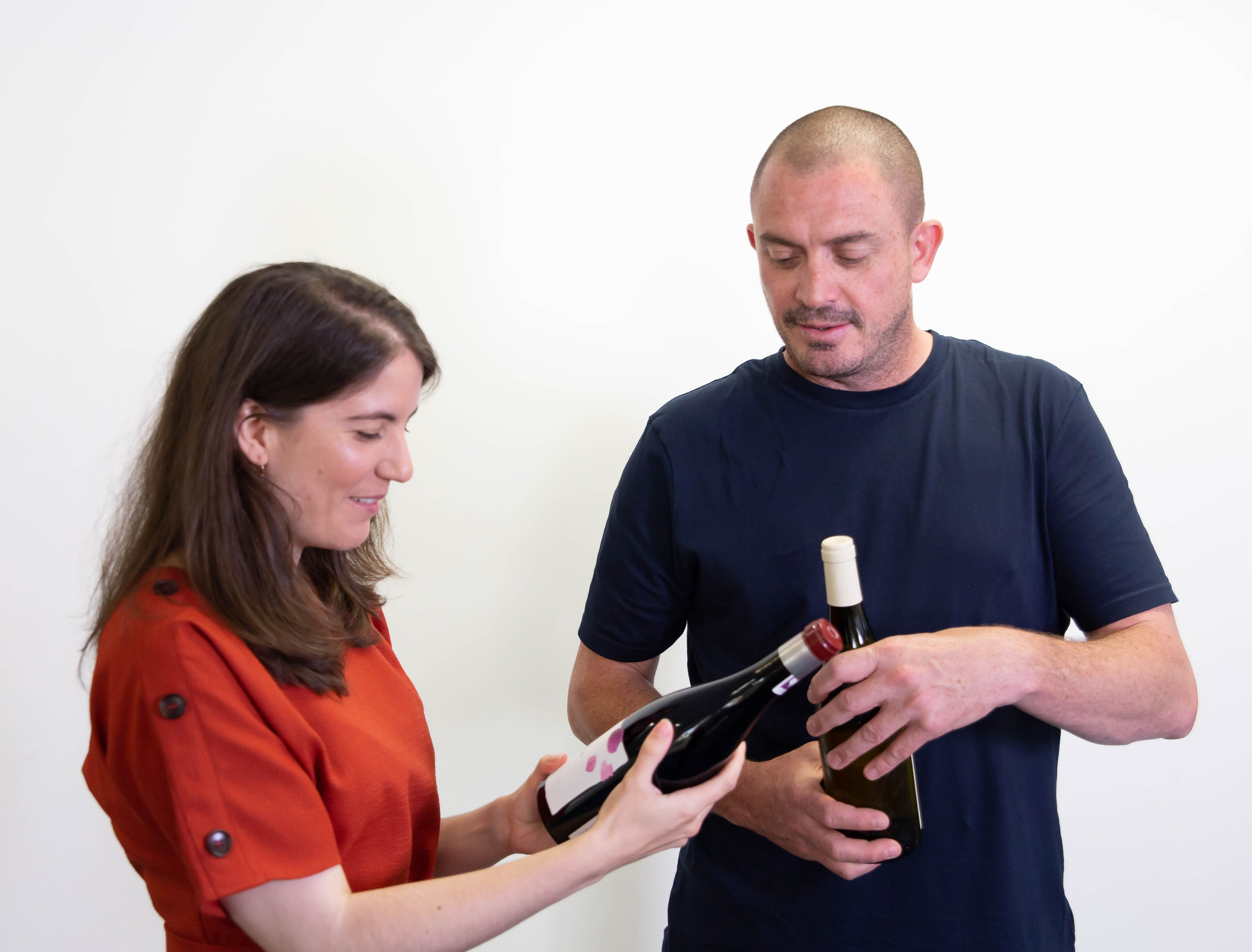 Cathryn Bell and Damien Grey tasting wines ahead of The Chef Supper Club