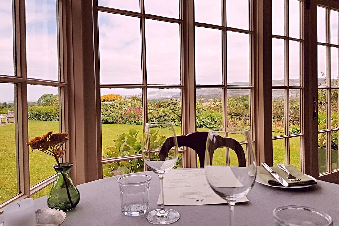 The dining room at Gregans Castle.