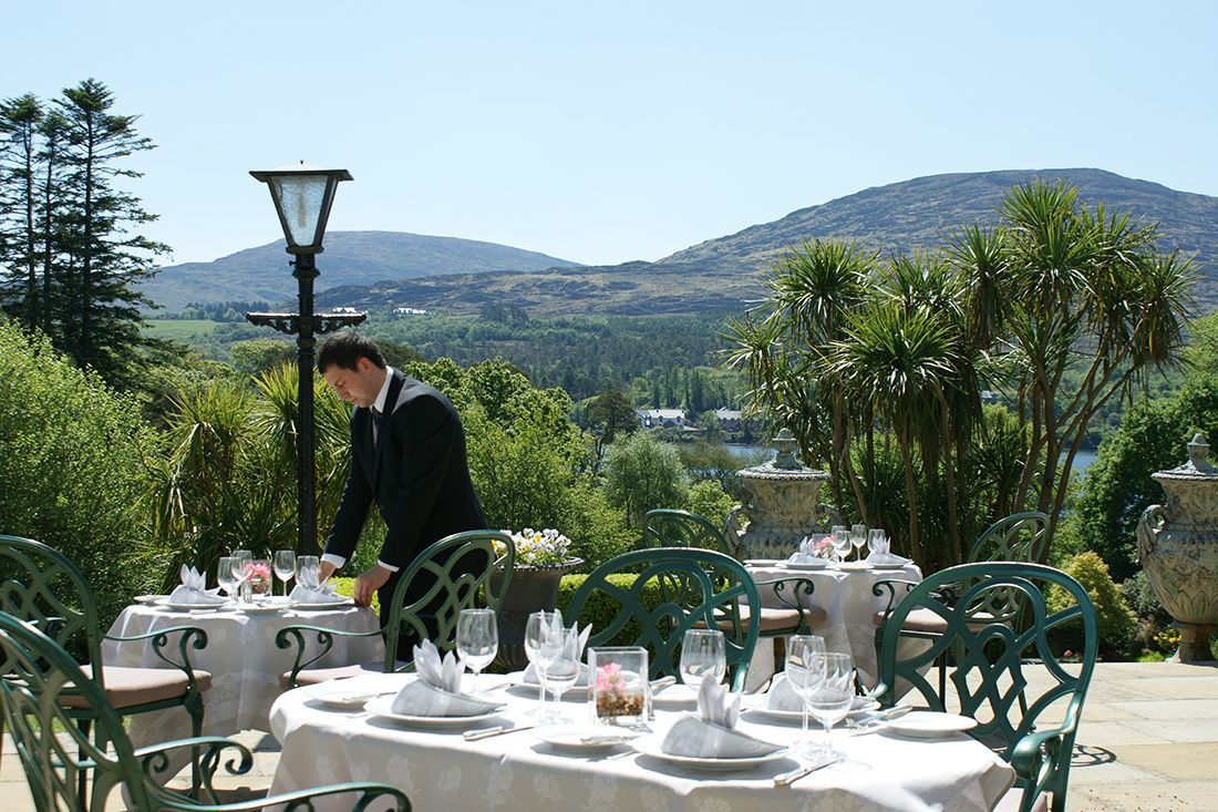 The terrace at the Park Hotel Kenmare